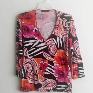 Linda Leal Floral Tropical Print Top